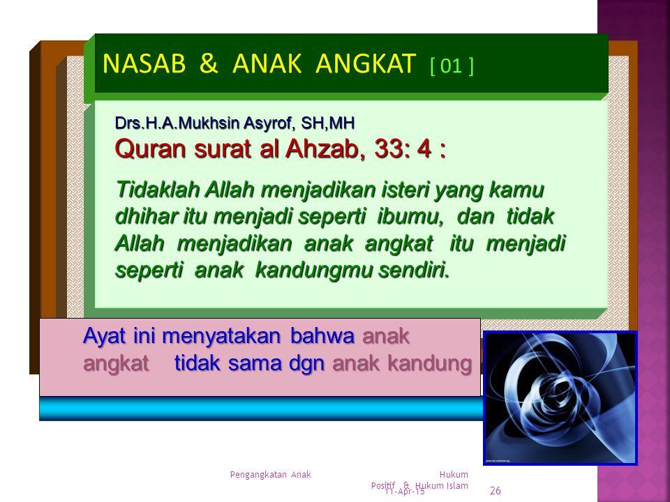 NASAB & ANAK ANGKAT [ 01 ] Quran surat al Ahzab, 33: 4 :